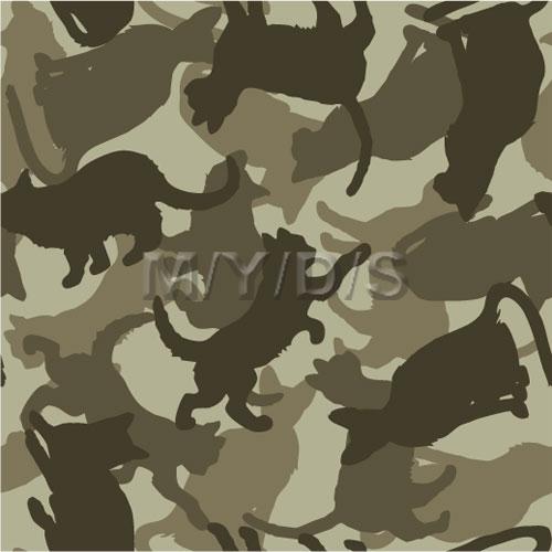猫/迷彩柄 猫の迷彩柄 マルチ迷彩柄 動物迷彩柄 犬の迷彩柄 多色迷彩柄 迷彩柄/テキスタイル図